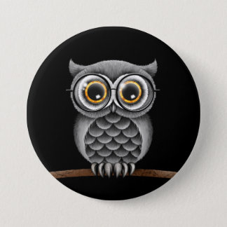 Cute Fluffy Gray Owl with Glasses, Black Button