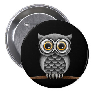 Cute Fluffy Gray Owl with Glasses, Black 3 Inch Round Button