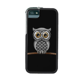 Cute Fluffy Gray Owl with Glasses, Black iPhone 5/5S Cases