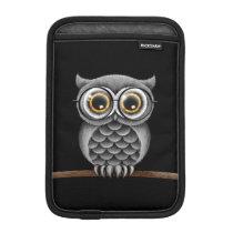 Cute Fluffy Gray Owl with Glasses, Black iPad Mini Sleeve