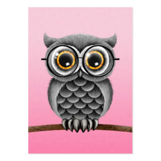 Cute Fluffy Gray Owl with Glasses, Pink Large Business Card