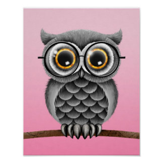 Cute Fluffy Gray Owl with Glasses, Pink Poster