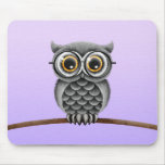 Cute Fluffy Gray Owl with Glasses, Purple Mousepad
