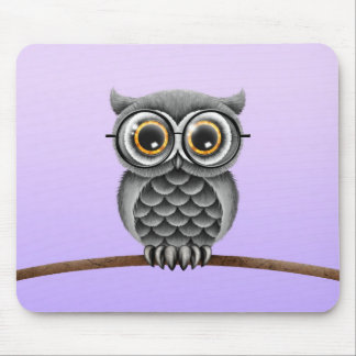 Cute Fluffy Gray Owl with Glasses, Purple Mouse Pad