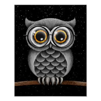 Cute Fluffy Gray Owl with Glasses with Stars Poster