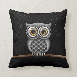 Cute Fluffy Gray Owl with Glasses with Stars Throw Pillow