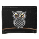 Cute Fluffy Gray Owl with Glasses with Stars Wallet