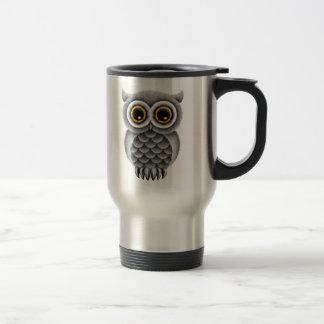 Cute Fluffy Grey Owl on a Branch Travel Mug