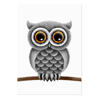 Cute Fluffy Grey Owl on a Branch, White Background Large Business Card