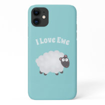 Cute Fluffy Lamb Cartoon Funny I Love You Pun Blue iPhone 11 Case