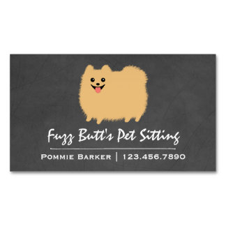 Cute Fluffy Pomeranian Magnetic Business Card