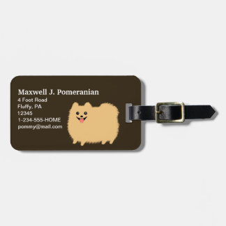 Cute Fluffy Pomeranian with Customizable Text Tag For Luggage