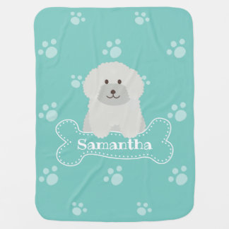 Cute Fluffy Poodle Puppy Dog Unisex Aqua Monogram Baby Blanket