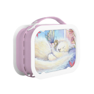 Cute Fluffy Sleeping Cat and Fairy Replacement Plate