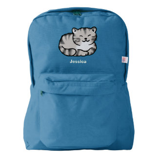 cute fluffy tabby gray tiger cat backpack