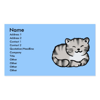 cute fluffy tabby gray tiger cat business card