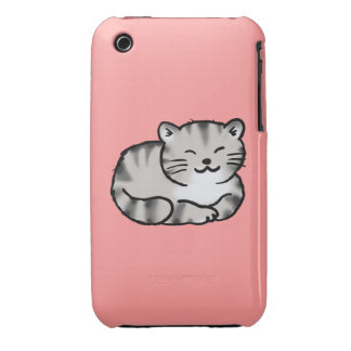 cute fluffy tabby gray tiger cat Case-Mate iPhone 3 cases