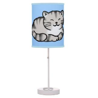 cute fluffy tabby gray tiger cat desk lamp