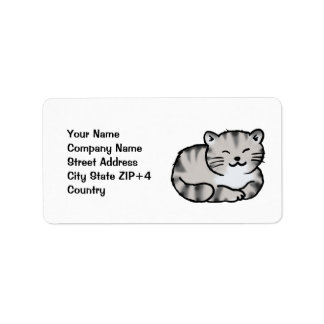 cute fluffy tabby gray tiger cat label
