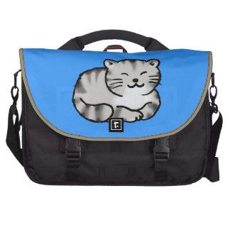 cute fluffy tabby gray tiger cat laptop bag
