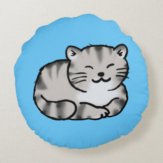 cute fluffy tabby gray tiger cat round pillow