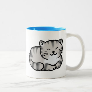 cute fluffy tabby gray tiger cat Two-Tone coffee mug