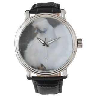 Cute Fluffy White Chicken and Chick Wristwatches