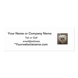 Cute Fluffy White Cute Kitty Expression Mini Business Card