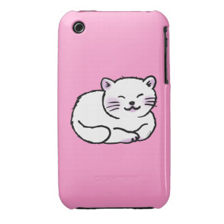 cute fluffy white & pink cat cartoon Case-Mate iPhone 3 case