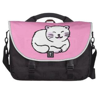 cute fluffy white pink cat cartoon laptop commuter bag