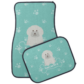 Cute Fluffy White Poodle Puppy Dog Lover Monogram Car Mat