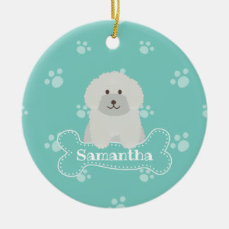 Cute Fluffy White Poodle Puppy Dog Lover Monogram Ceramic Ornament