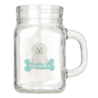 Cute Fluffy White Poodle Puppy Dog Lover Monogram Mason Jar
