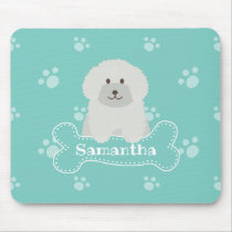 Cute Fluffy White Poodle Puppy Dog Lover Monogram Mouse Pad