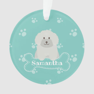 Cute Fluffy White Poodle Puppy Dog Lover Monogram Ornament