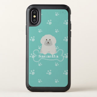 Cute Fluffy White Poodle Puppy Dog Lover Monogram Speck iPhone X Case