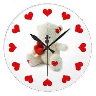 Cute Fluffy White Teddy Bear With a Heart Large Clock