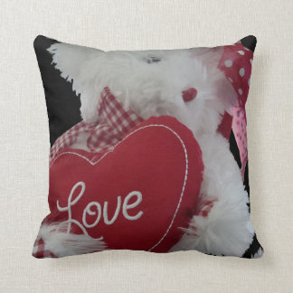 Cute Fluffy White Teddy Bear With Red Love Heart Throw Pillow