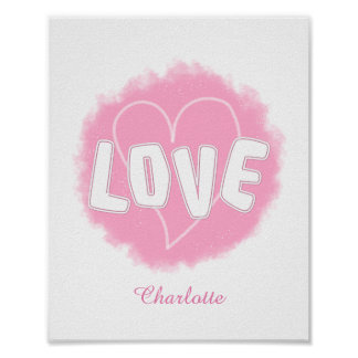 Cute Fluffy Word Cloud Love Text Graphic Poster