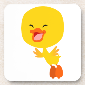 Cute Flying Cartoon Duckling Coaster Set