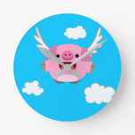 Cute Flying Cartoon Pig Round Clock