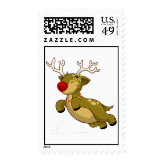 Cute Flying Christmas Reindeer Postage Stamp