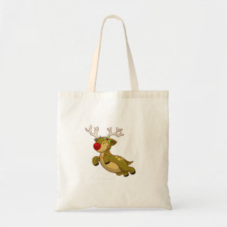 Cute Flying Christmas Reindeer With Clouds Tote Bags