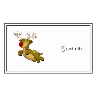 Cute Flying Christmas Reindeer With Clouds Business Cards