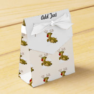 Cute Flying Christmas Reindeer With Clouds Favor Box