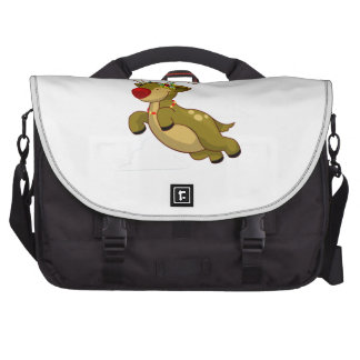 Cute Flying Christmas Reindeer With Clouds Bags For Laptop