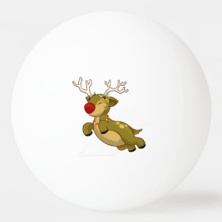 Cute Flying Christmas Reindeer With Clouds Ping Pong Ball