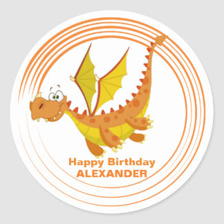 Cute Flying Dragon Personalized Birthday Classic Round Sticker