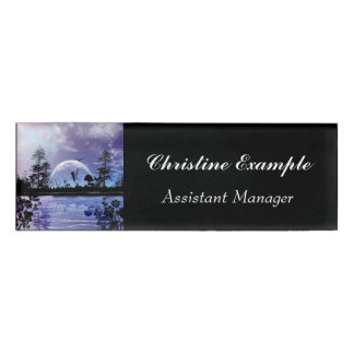 Cute flying fairy in the night name tag