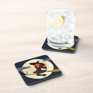 Cute Flying Halloween Witch Beverage Coaster
